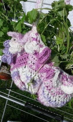 crochet double hanging herb basekt